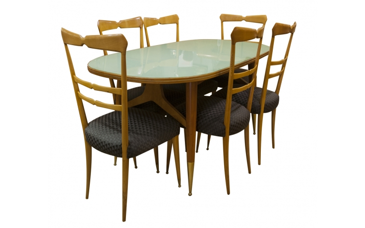 Ico Luisa Parisi Cherry Wood Dining Table 6 Chairs C 1950