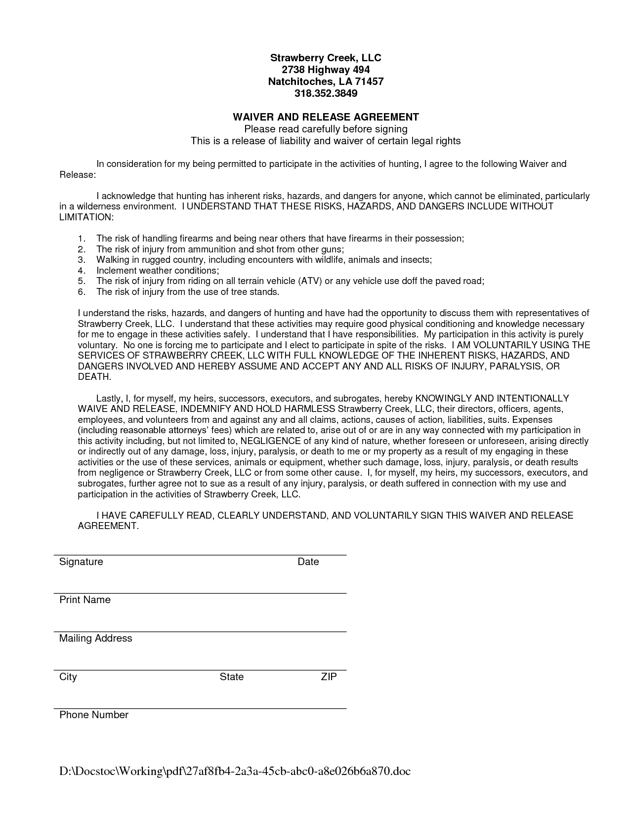 Waiver And Release Of Liability Form Sample Swifterco waiver – Release of Liability Form Sample