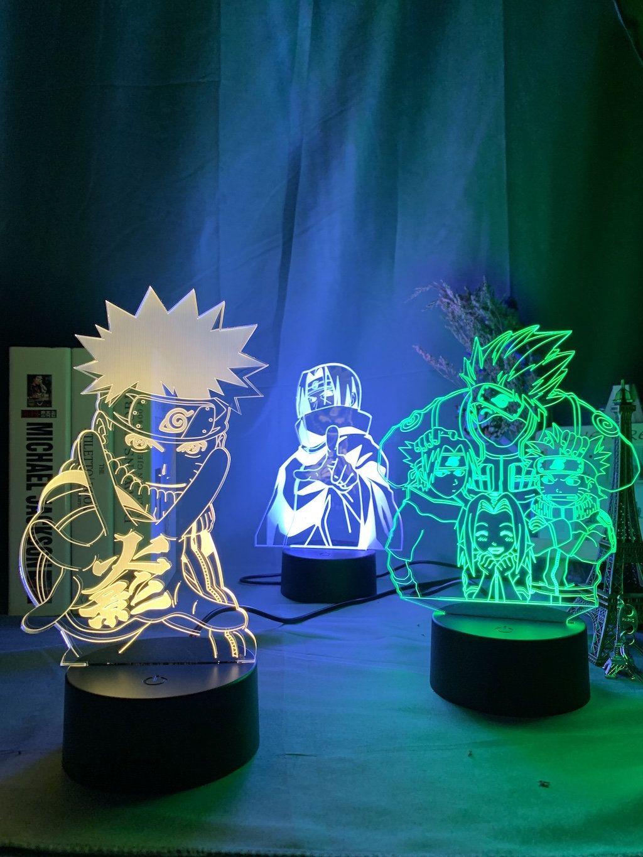 Naruto Itachi Led Acrylic Anime Night Light Kakashi Sasuke In 2020 Itachi Naruto Anime