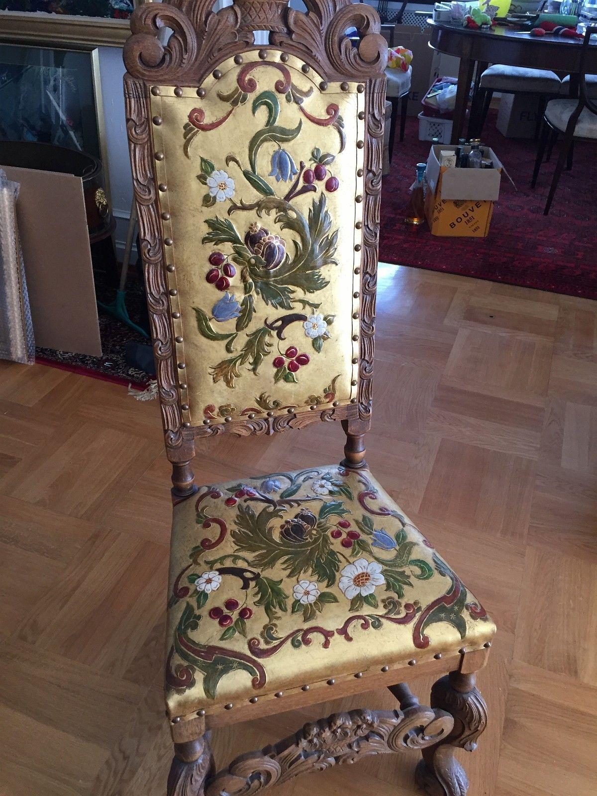 2 stk Gyldenlær stoler med høy rygg