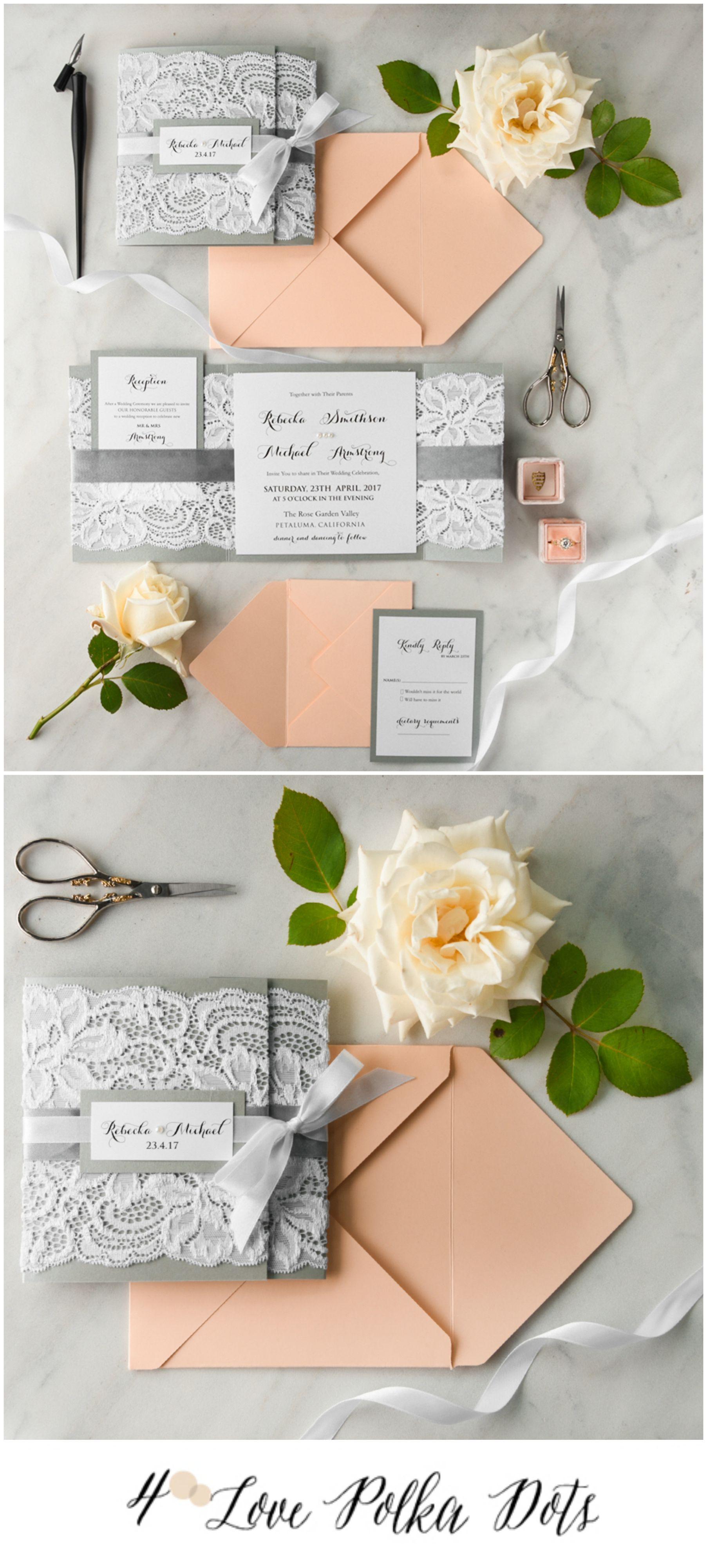 Peach u0026 Grey Lace wedding invitation peach