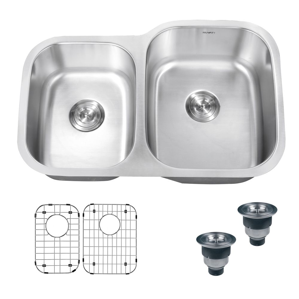 Ruvati 32 Inch Undermount 40 60 Double Bowl 16 Gauge Stainless Steel Kitchen Sink Rvm4315 Double Bowl Kitchen Sink Sink Stainless Steel Kitchen