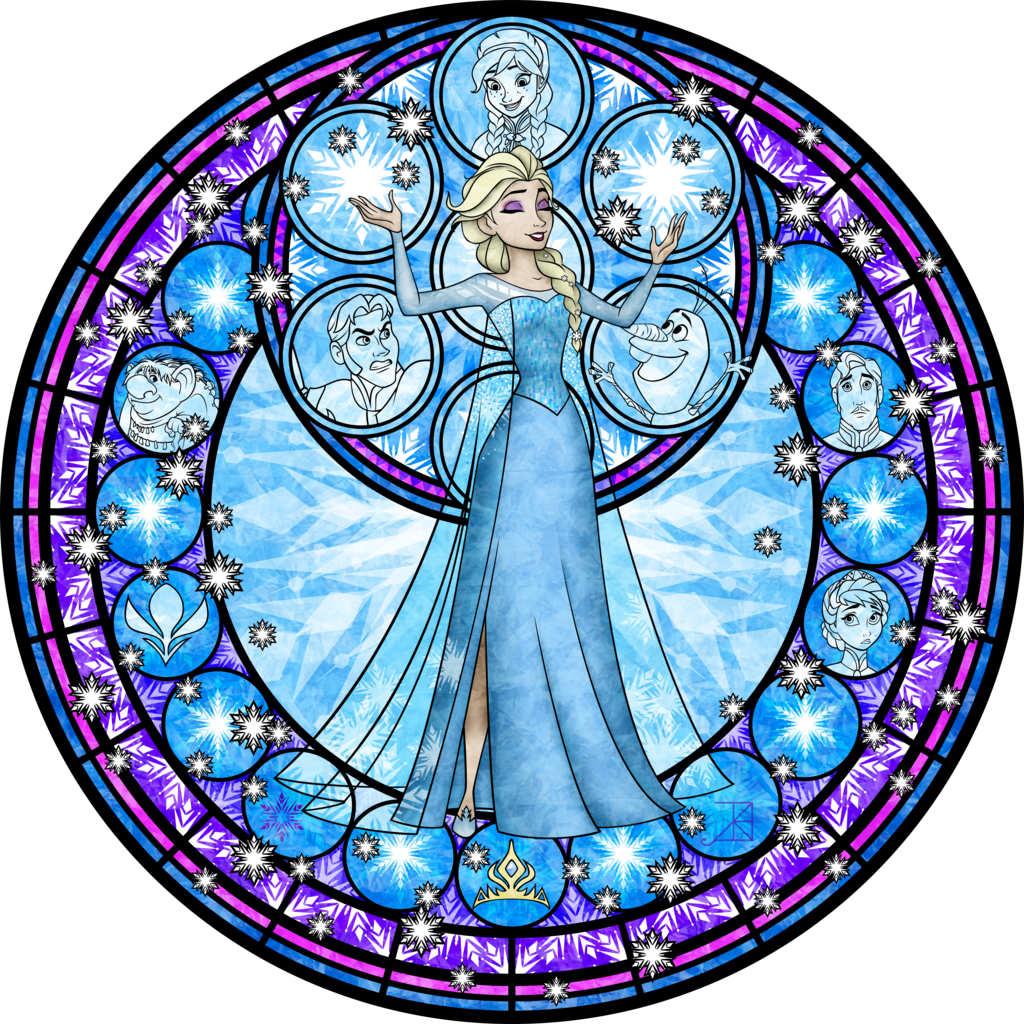 Elsa Stained Glass Vector by Akili Amethystdeviantartcom on