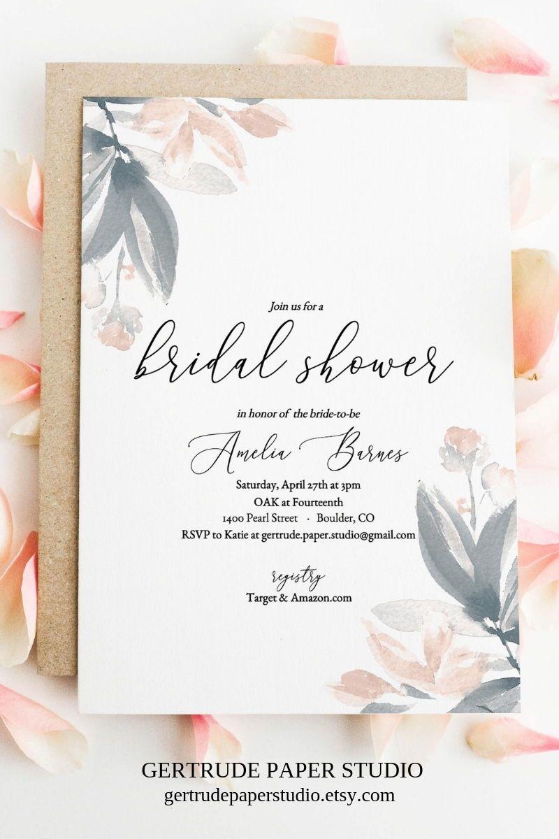 Boho Bridal Shower Invitation Template Instant Download Bohemian