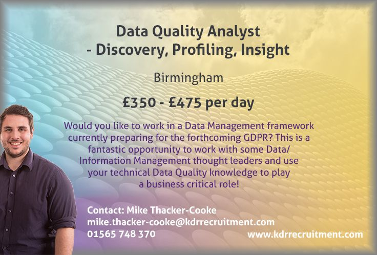 New Job: Data Quality Analyst - Discovery, Profiling, Insight needed ...