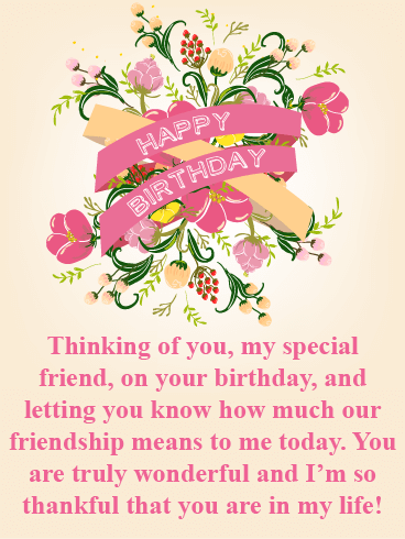 Thankful For You Happy Birthday Card For Friends Birthday Greeting Cards By Davia Birthday Message For Friend Happy Birthday Greetings Friends Birthday Cards For Friends