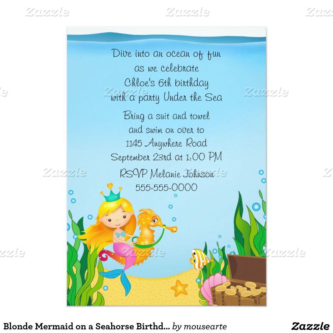 Blonde Meerjungfrau auf einem Seepferd Geburtstag 12 7 X 17 8 Cm