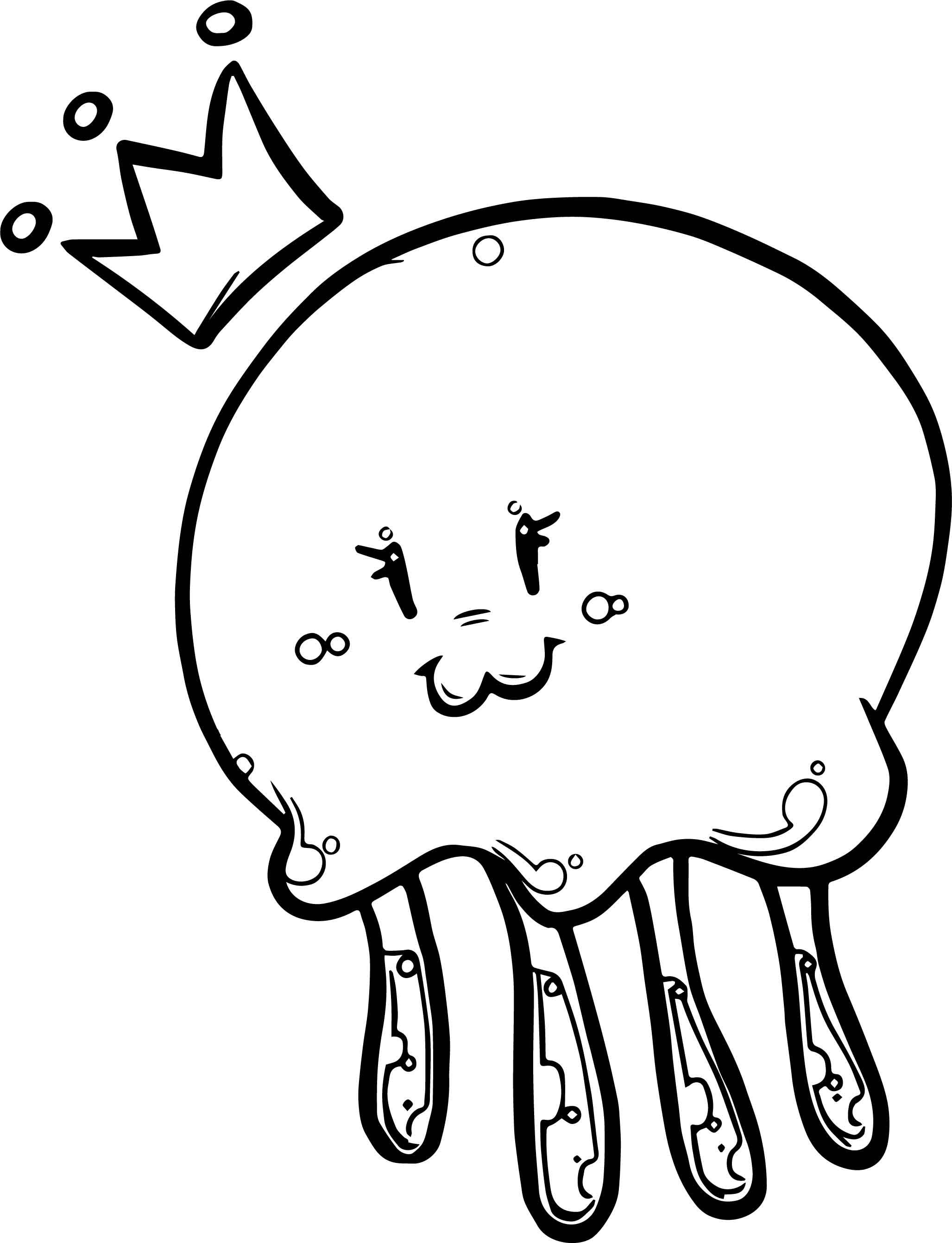 Nice Cute Jellyfish Queen Coloring Page Animal Coloring Pages Lion Coloring Pages Abstract Coloring Pages