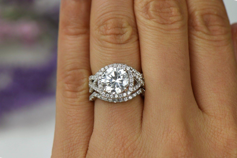 3 25 Ctw 3 Band Twisted Halo Wedding Set Engagement Ring Halo Wedding Set Engagement Engagement Rings