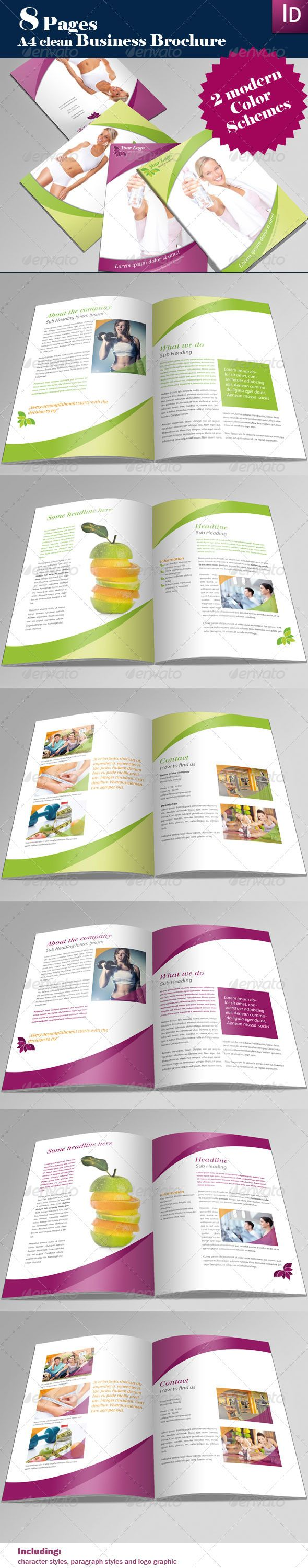 A4 Professional Brochure - Corporate Brochure Template InDesign INDD, Vector AI. Download here: http://graphicriver.net/item/a4-professional-brochure/166361?s_rank=771&ref=yinkira