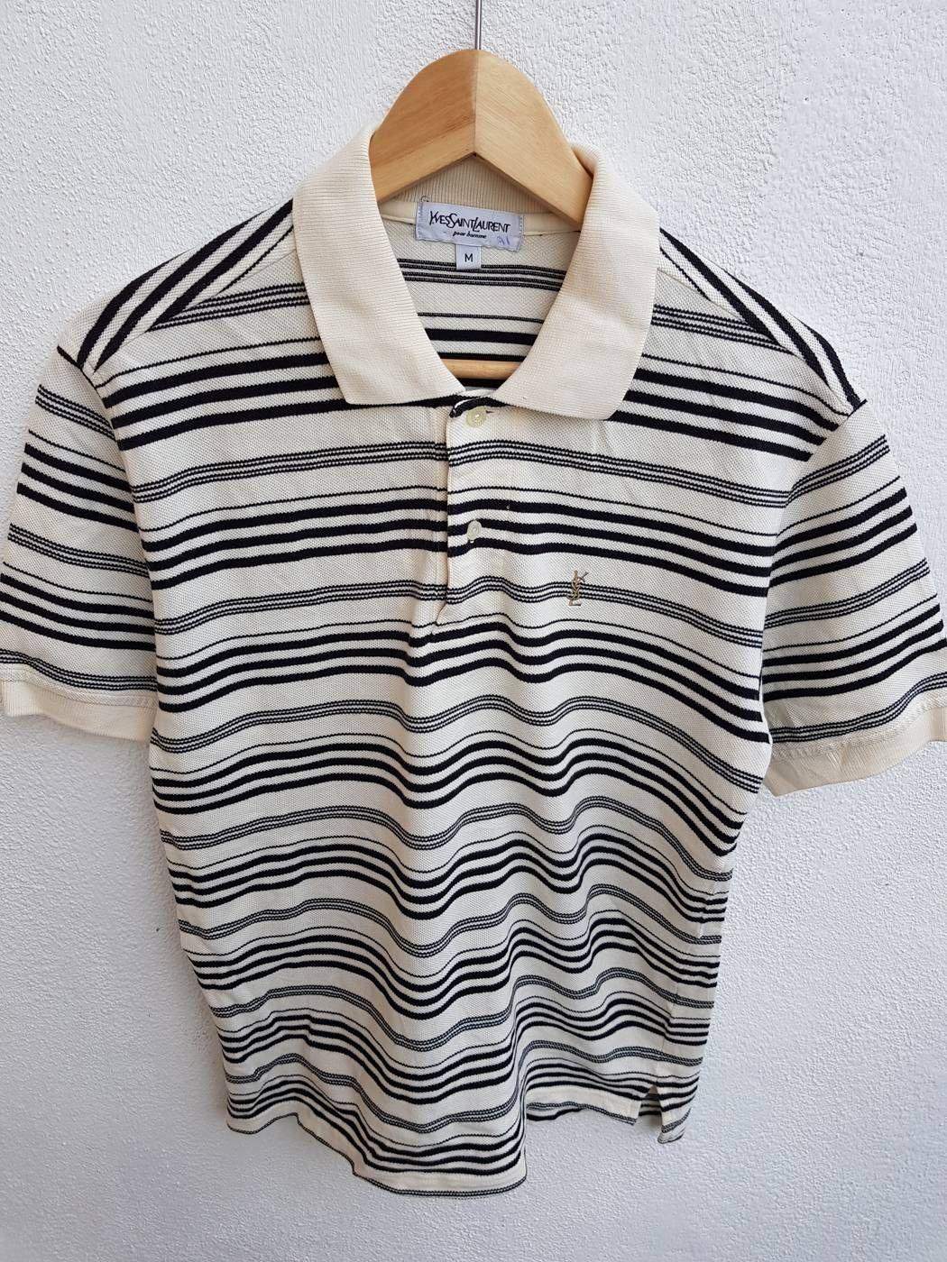d4f109f0 Ysl Pour Homme Vintage 90s YSL Yves Saint Laurent Pour Homme Stripes  Embroidered Monogram Polos Shirt Size M Size US M / EU 48-50 / 2 - 2