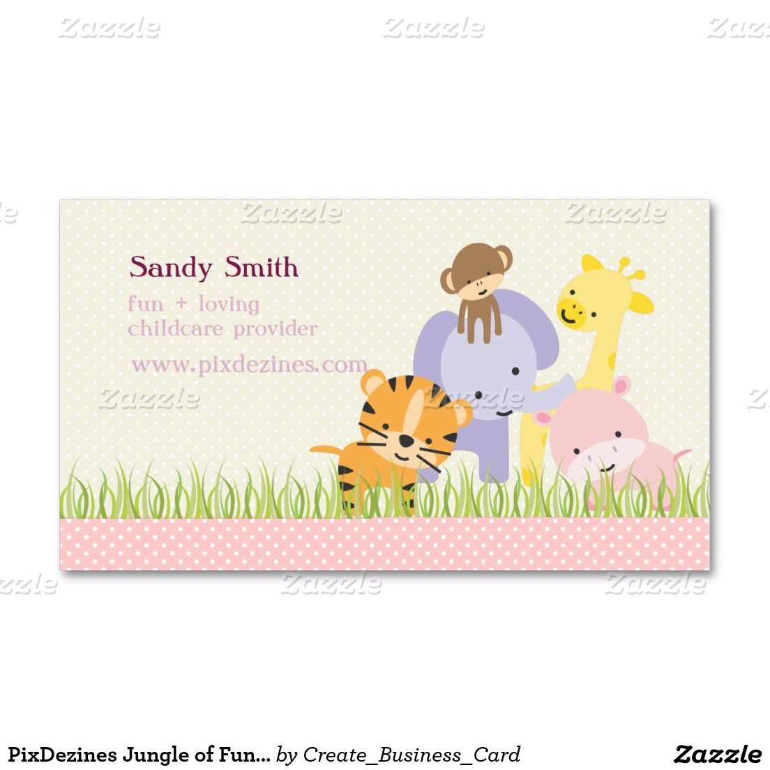 Cute Giraffes Childcare Daycare Baby Business Double-Sided ...