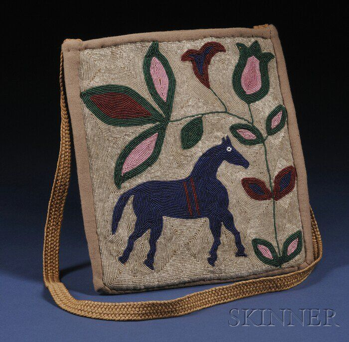 Plateau Pictorial Beaded Cloth and Hide Bag