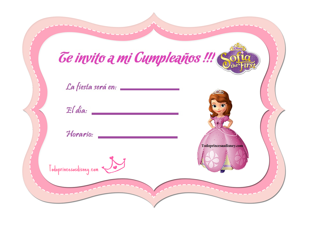 Invitaciones De Princesa Sofia Invitaciones De Cumpleaños