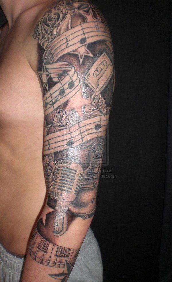 Music Half Sleeve Tattoo : music, sleeve, tattoo, Sleeve, Tattoo, Designs, Cuded, Music, Designs,, Tattoos,, Sleeves