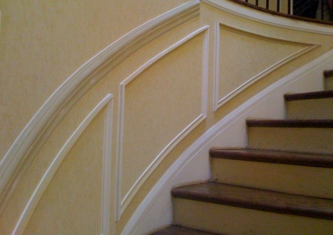 Chair Rail On Stairs Part - 45: Chair Rail And Shadow Boxes On Curved Staircase Wall.