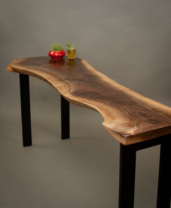 eloquent black walnut console table simple live edge midcentury