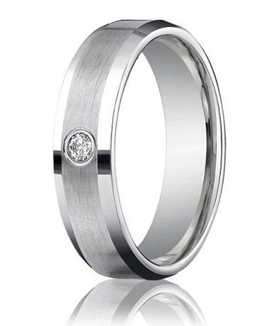 Designer Platinum Mens Wedding Ring with Single Round Diamond