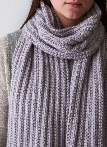 Free Knitting Pattern for 2 Row Repeat No Purl Rib Scarf - Easy ...