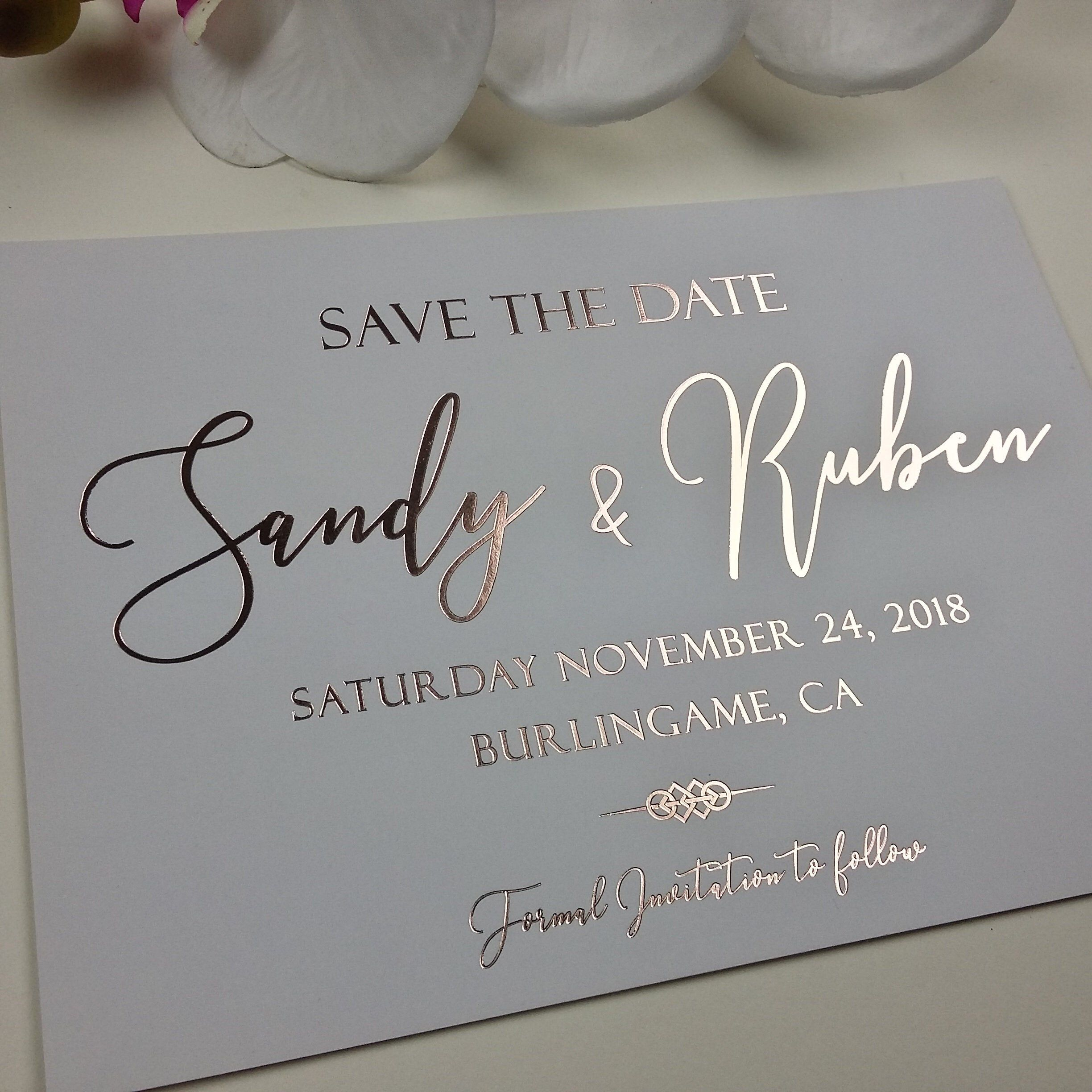 Ligth Grey Rose Gold Save The Date Metallic Rose Gold Foil