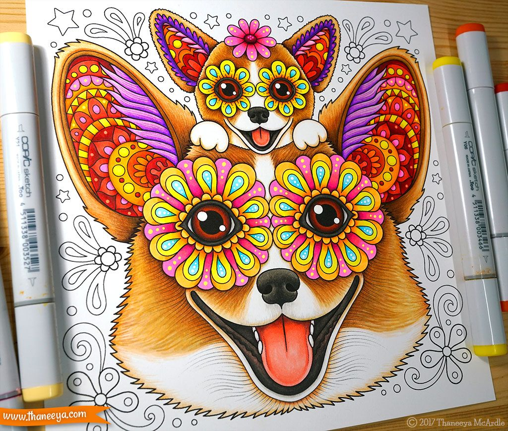 Happy Corgi Coloring Page From Thaneeya Mcardle S Delightful Animal