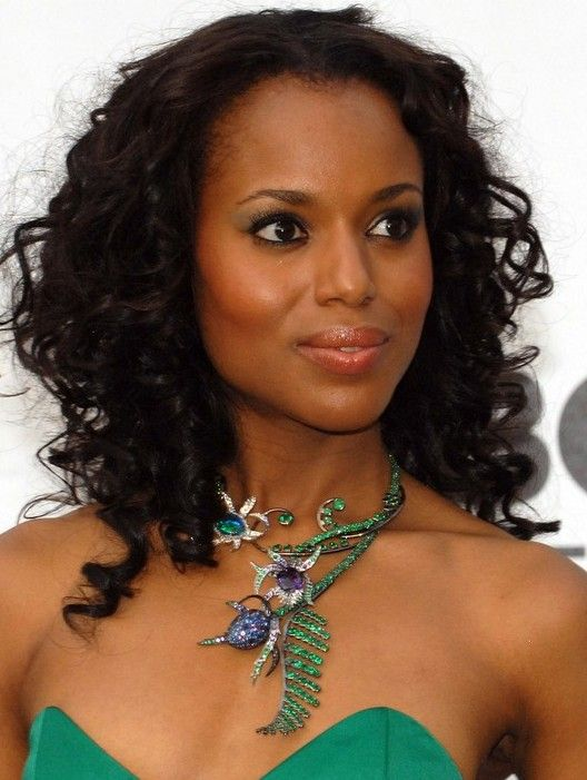 Kerry Washington Black Curly Hairstyle Famous Actress Actors
