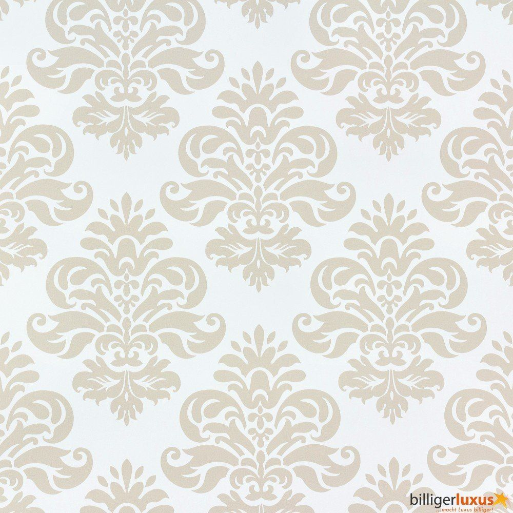 Retro barock lounge tapete 266900 beige creme - Barock wallpaper ...