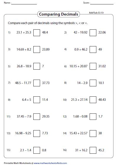 Addition/Subtraction of decimals: Easy | pdf | Pinterest | Comparing ...