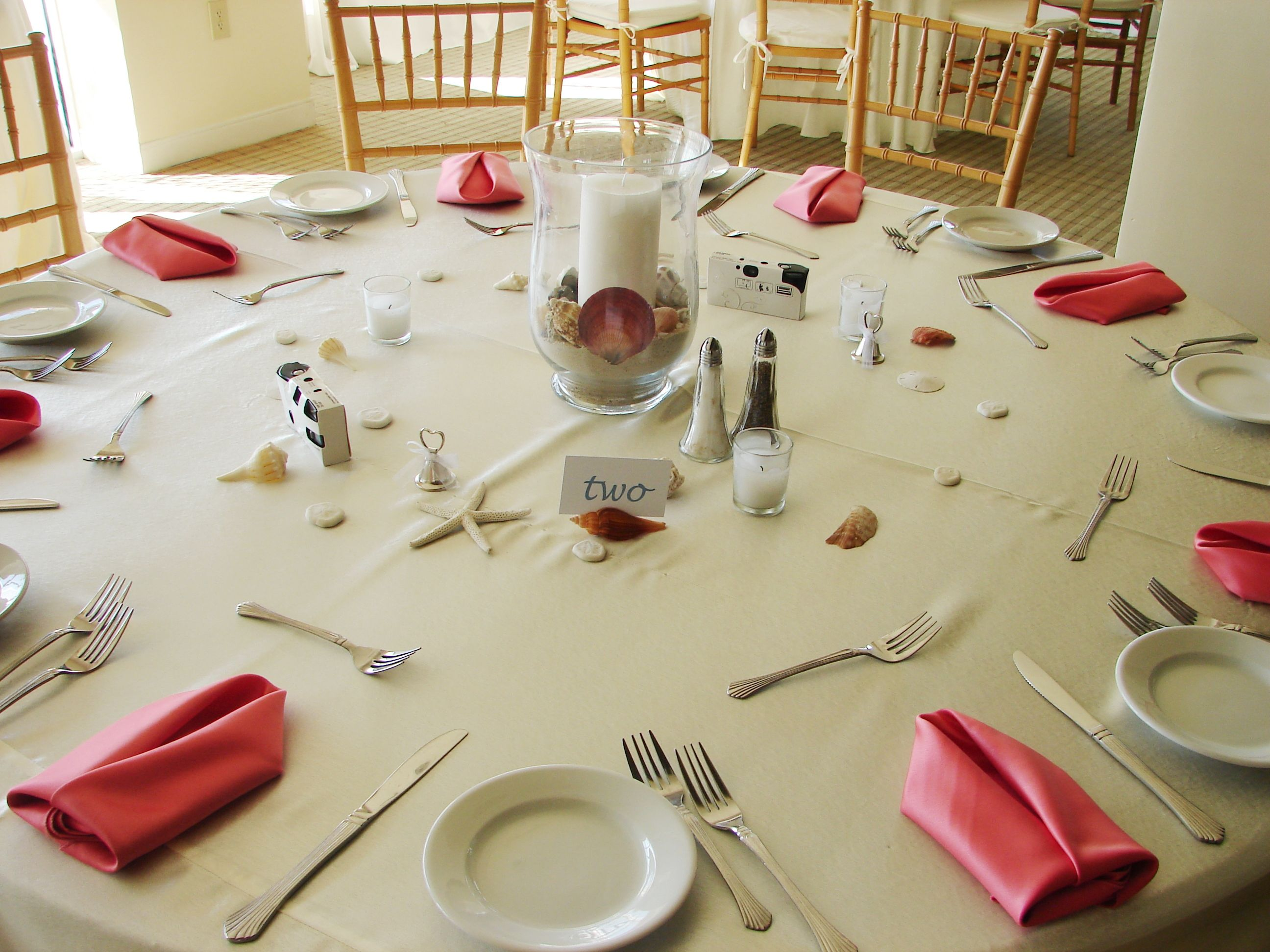 Cypress Ballroom House Centerpieces Lamour Linens Coral & Teal ...