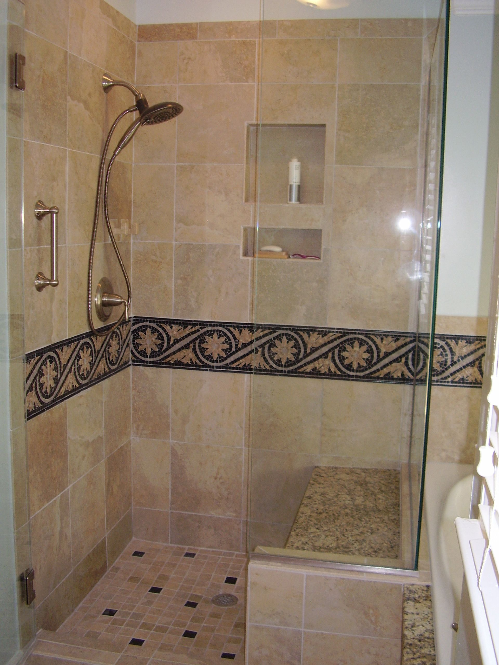 tile border bathroom master bathroom shower with 12 quot x12 quot tiles and mosaic 14682