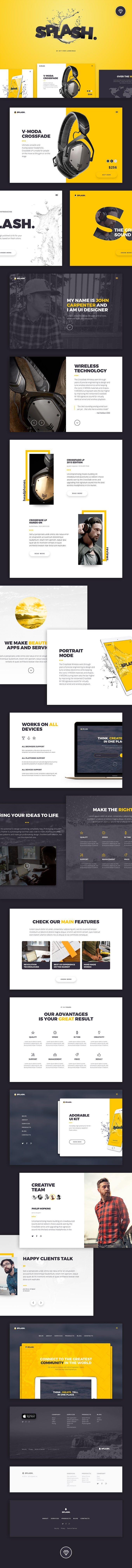 Splash Free Ui Kit Download Landing Page Templates Graphic