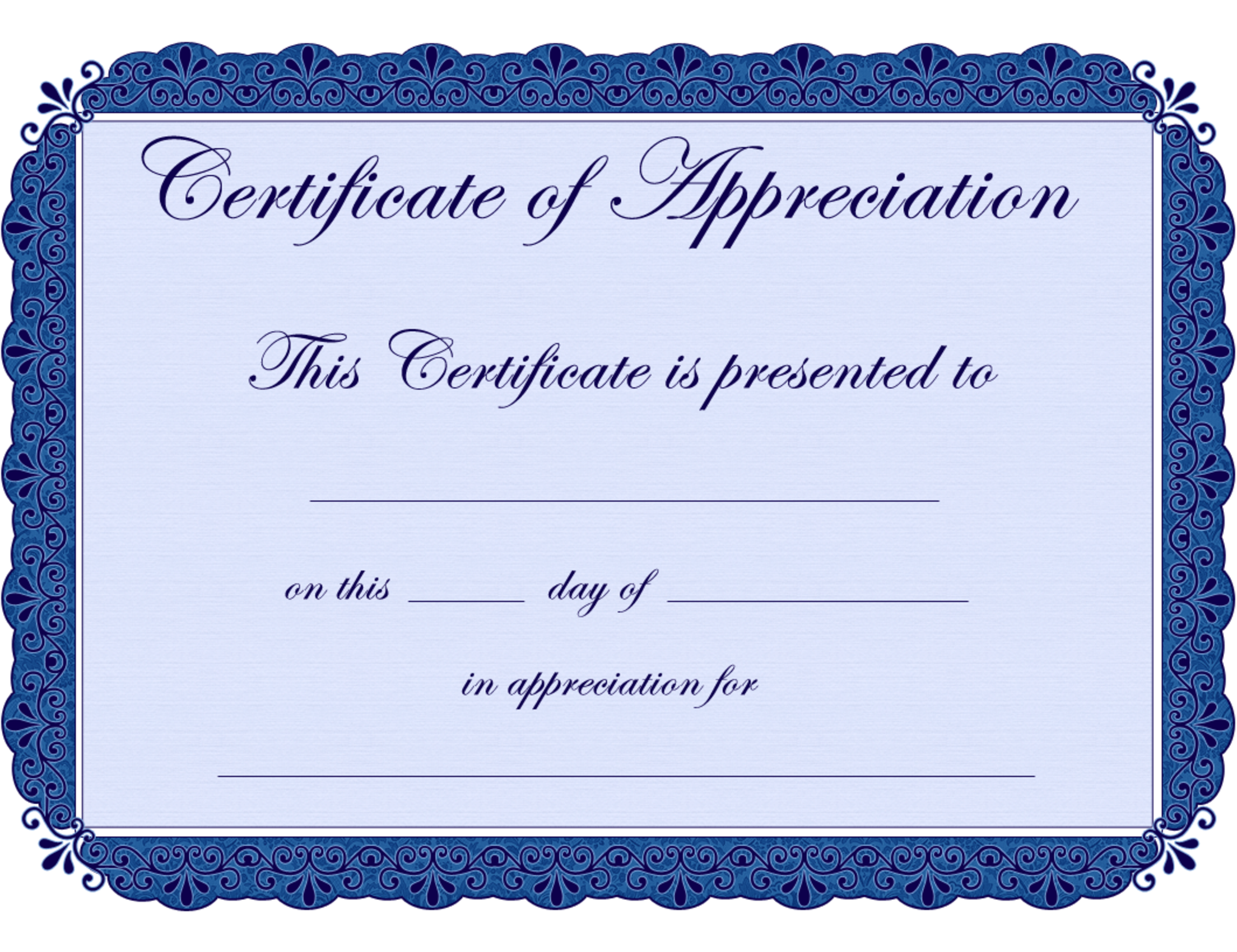 Appreciation Certificates Printable  Certificate Of Completion Template Free