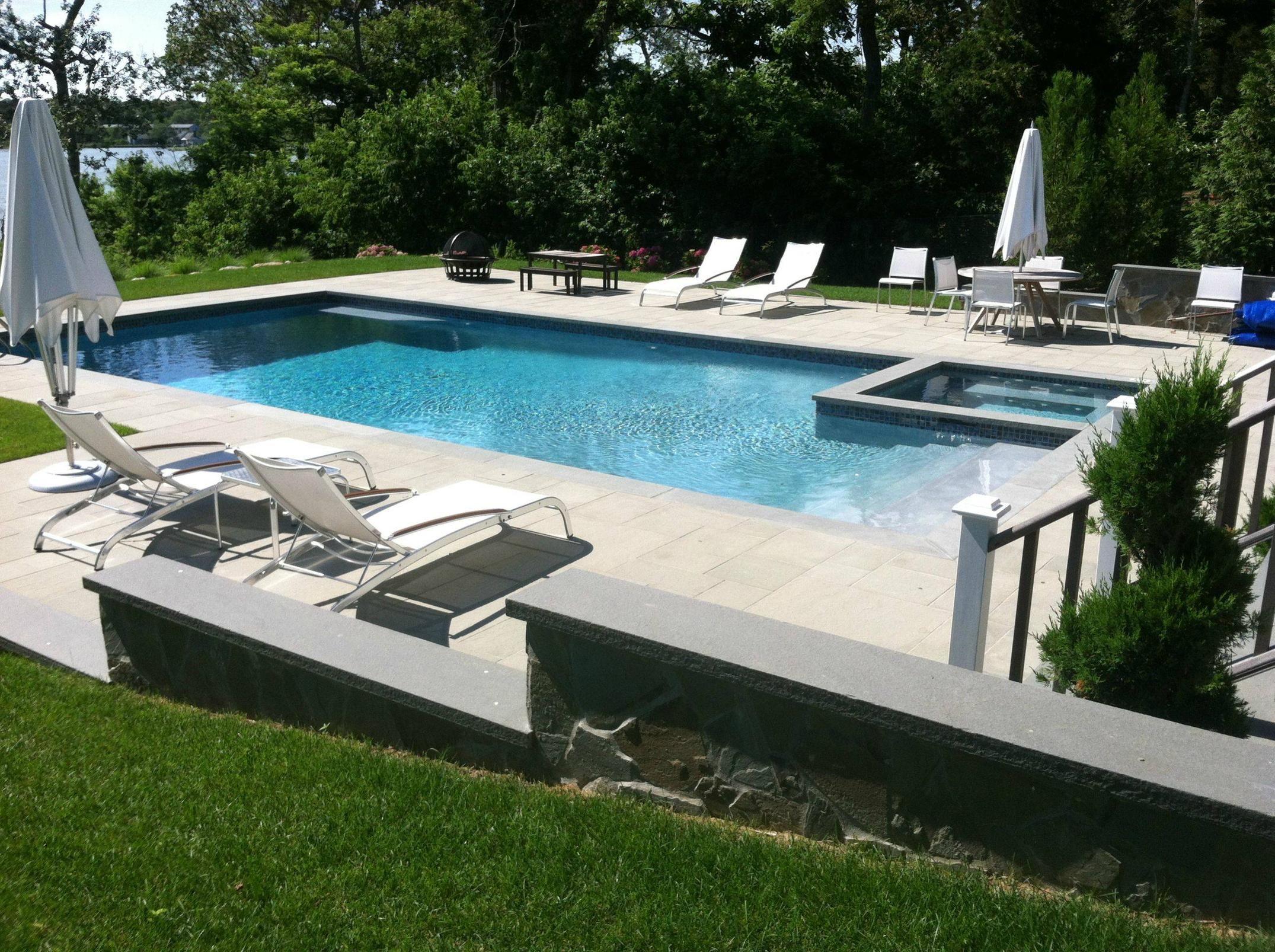 Gunite Pool U0026 Overflow Spa Combo With Bluestone Patio And Retaining Walls  Southampton