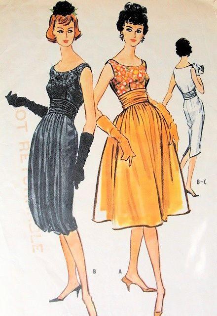 1950s McCALLS 4836 EVENING DRESS PATTERN SLIM or FULL SKIRT, CUMMERBUND, UNIQUE OPTIONAL HAREM PANEL
