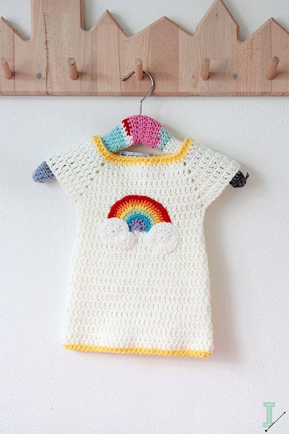 Crochet baby dress - Rainbow and clouds | Häkeln und Stricken