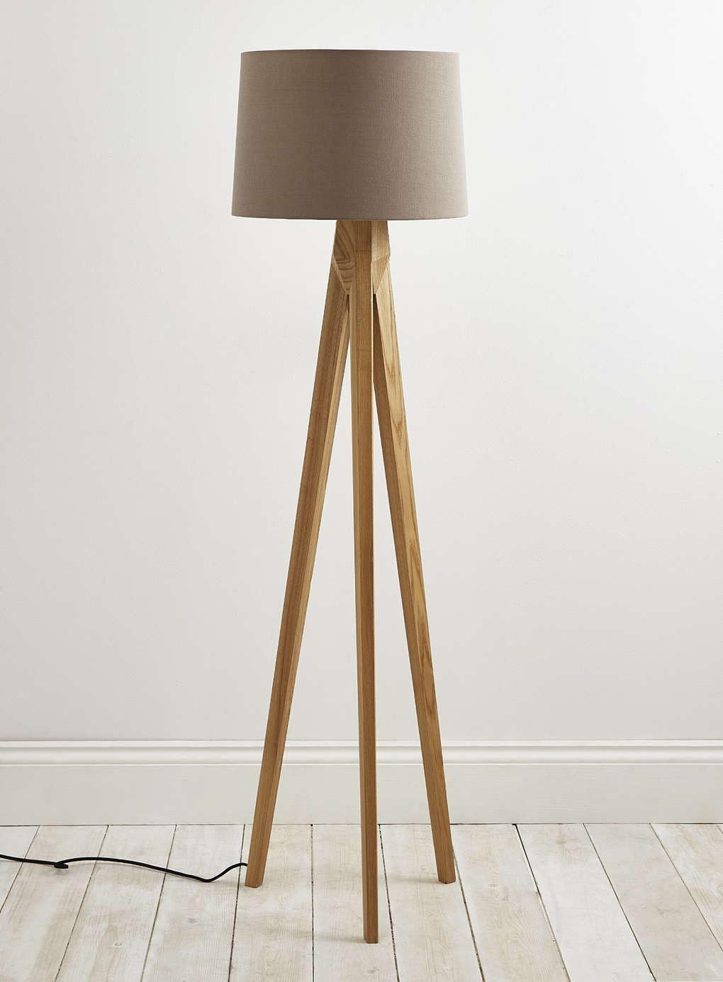 Delightful Tripod Floor Lamp Wooden Legs