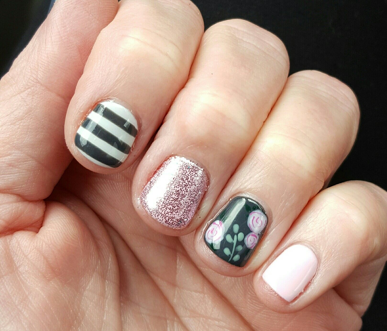 Dark striped floral nails. Pink and grey nails   nails   Pinterest ...