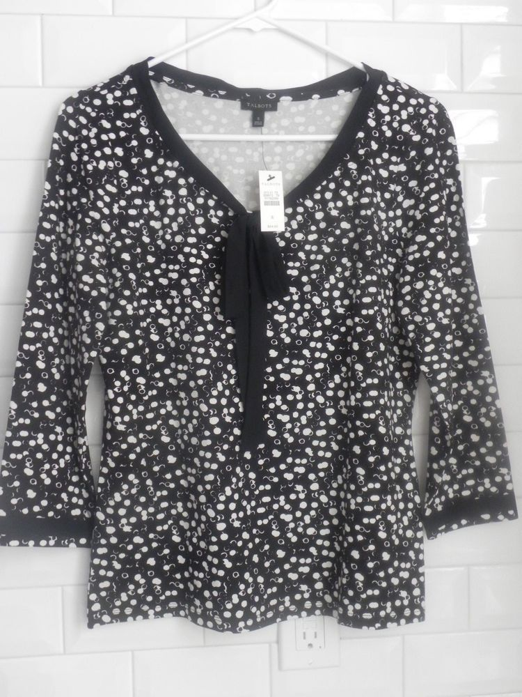 b6acd90156c22 Talbots XS Women s Black White blouse NWT  fashion  clothing  shoes   accessories  womensclothing  tops (ebay link)