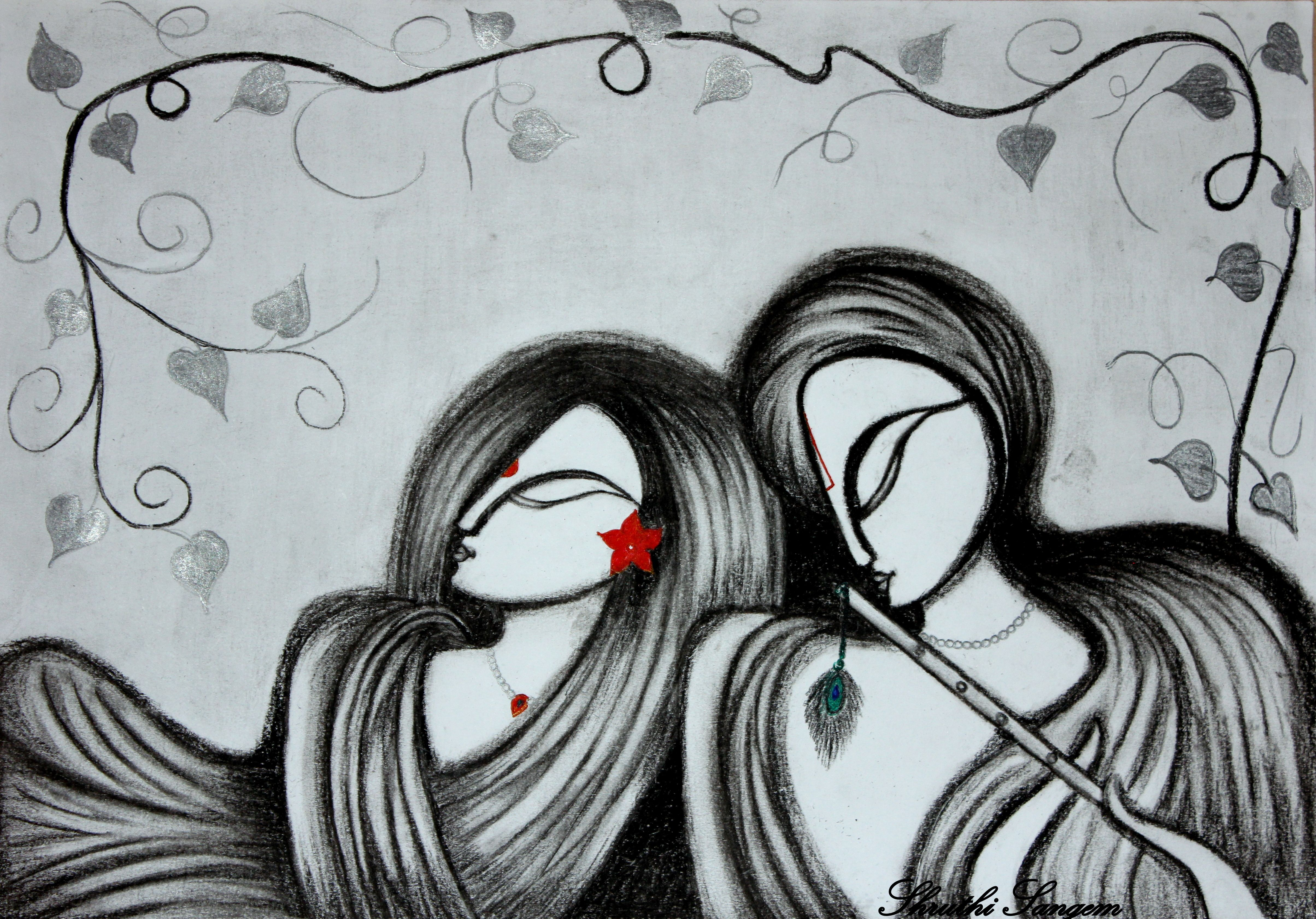Radha krishna charcoal sketch arte pencil drawings drawings