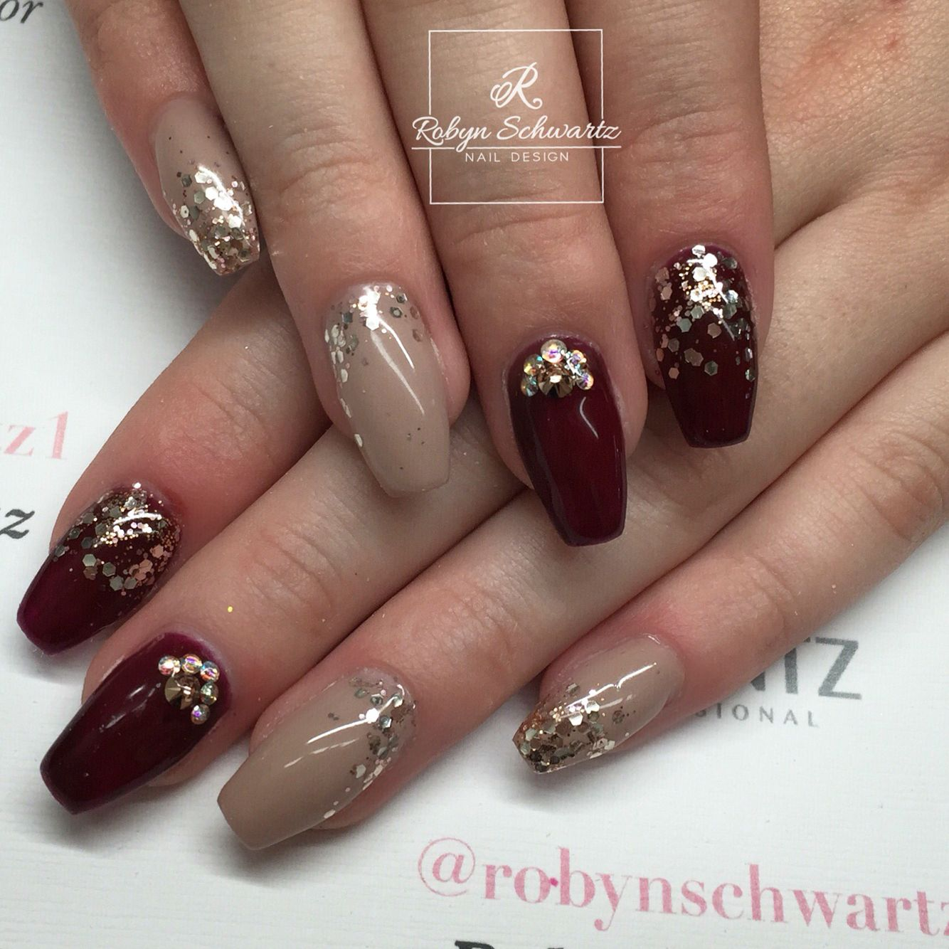 Love this combo of dark red and nude gel nails #coffinnails ...