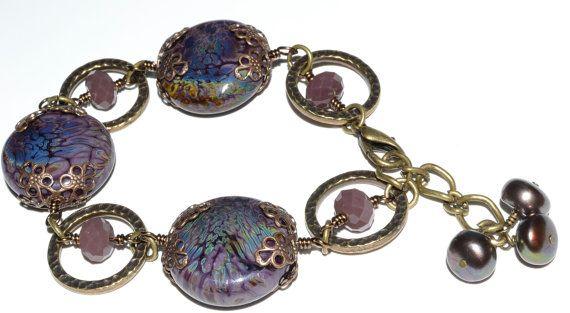 Romantic SRA Lampwork Glass Lentil Bracelet by SoManyPrettyBeads