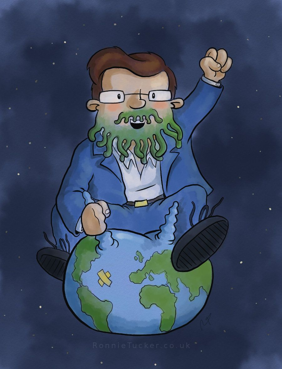 PZ Myers, as Cthulhu, flying through the universe on a space