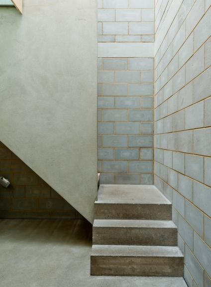 Stair Detail And Exposed Concrete Blockwork Concrete Block Walls Brick Interior Exposed Concrete
