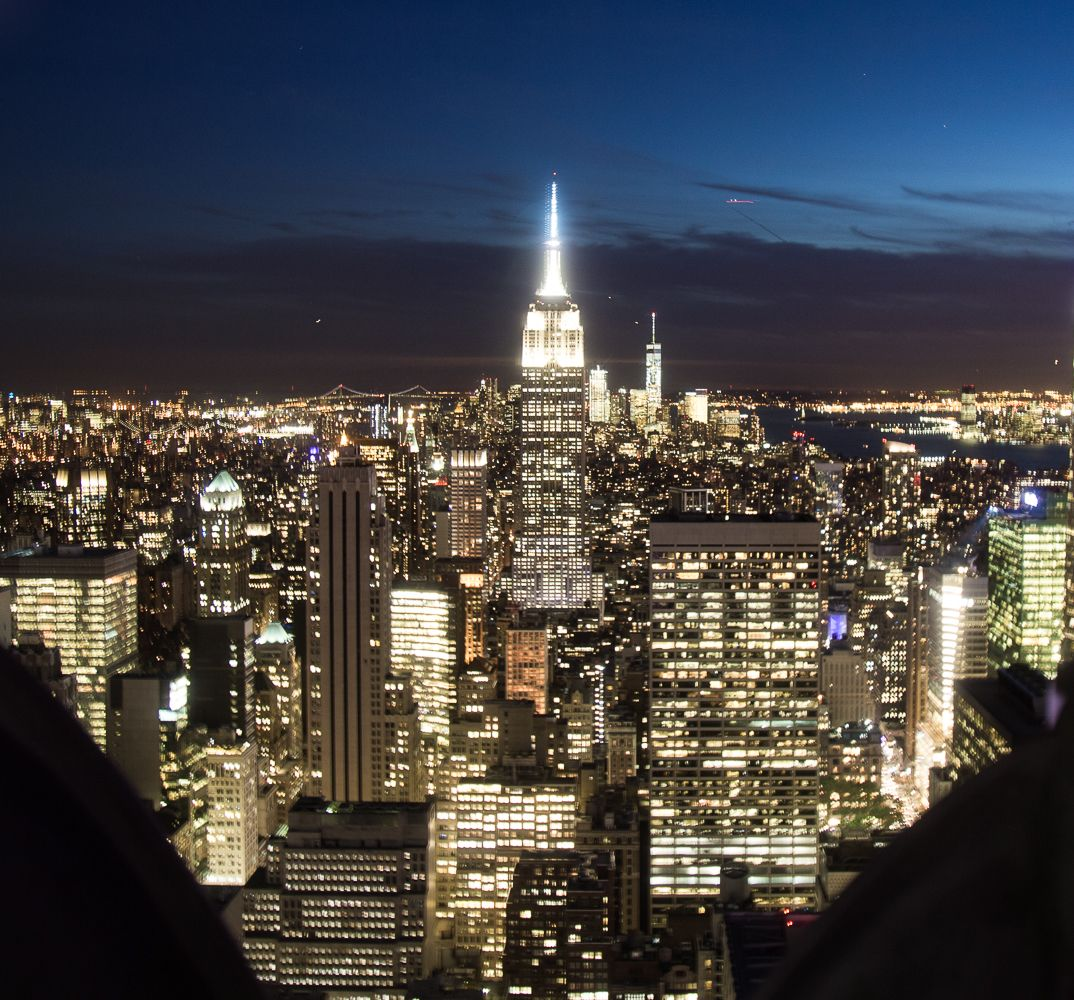 The view of the Empire State Building at night.
