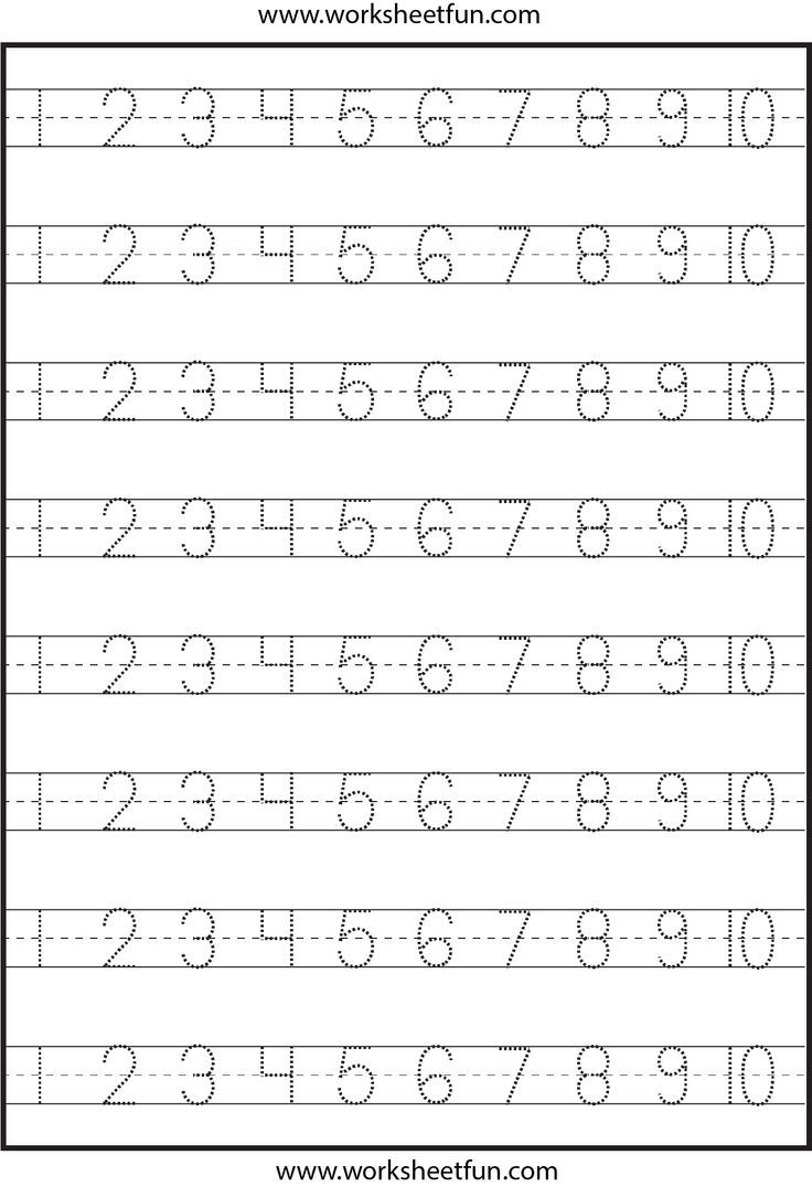 Pre K Number Writing Worksheets number tracing 4 worksheets – Number Tracing Worksheets 1-10
