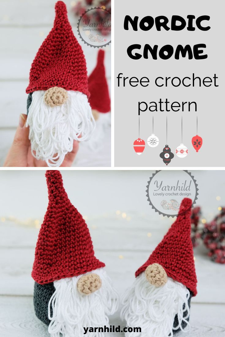How to crochet a gnome- free video tutorial for a crochet gnome #crochethooks