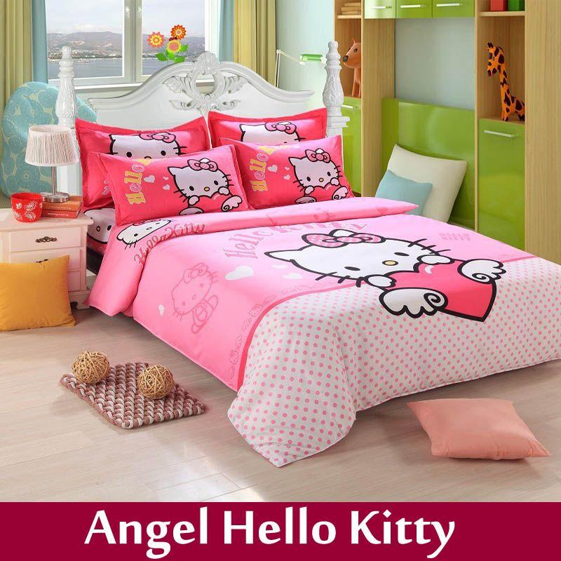Home Textile Children Cartoon Print King Size Bedding Set Cotton 4pcs Bed Linen Sheets