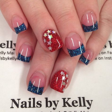 nails red french 4th of july 52 ideas  patriotic nails in