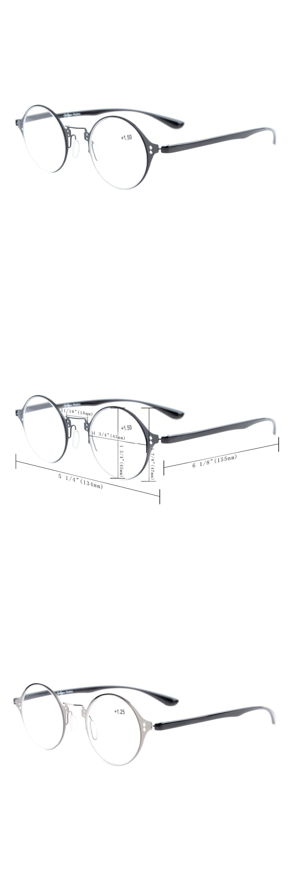 5dace2c12c7 R12618 Eyekepper Lightweight Flex Round Reading Glasses Unique Stylish Crystal  Clear Vision +0.50--