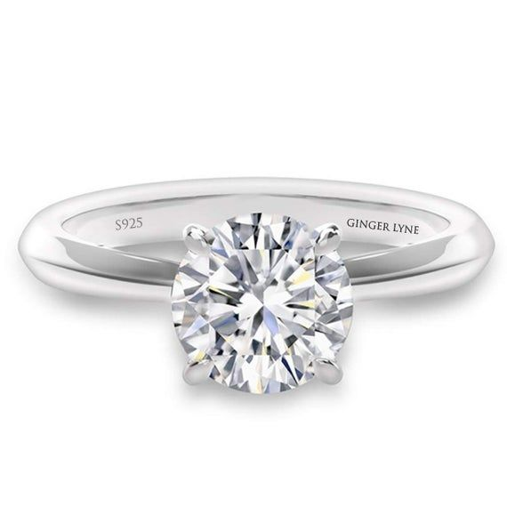 Ginger Lyne Collection Amore Sterling Silver 3 CT Solitaire Certified Moissanite Engagement Bridal W
